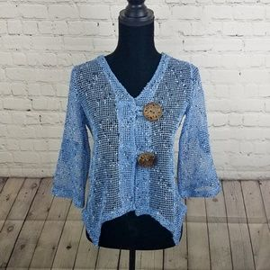Nina Leonard Netted Half Sleeve Blue Cardigan